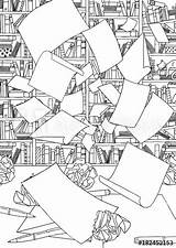 Crumpled Bookshelf Colouring Suitable Papers Empty Flying Desk Through Office Paper Comp Contents Similar sketch template