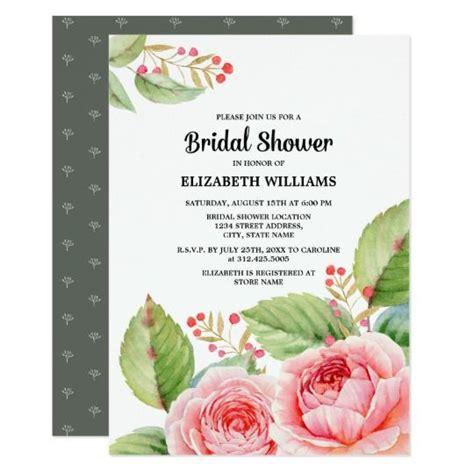 watercolor floral design bridal shower invitations