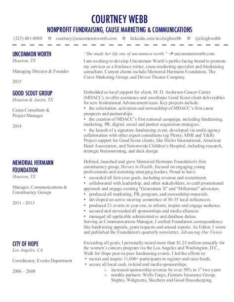 webb s cause marketing nonprofit fundraising resume
