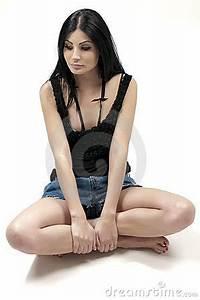 Beautiful Girl Sitting Cross-legged Royalty Free Stock ...