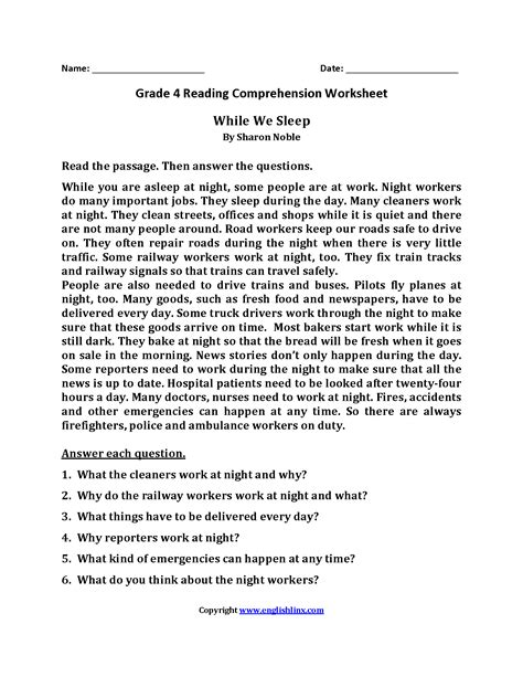 worksheet 3rd grade reading comprehension passages with