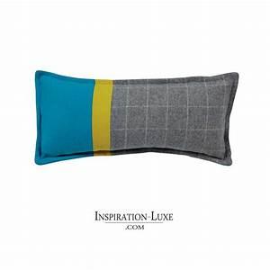 Coussin Gris Et Jaune : coussin prestige en laine gris bleu et jaune ~ Dailycaller-alerts.com Idées de Décoration