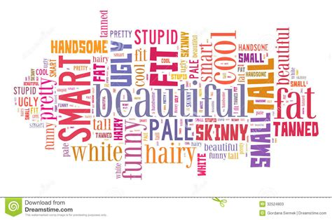 personal attributes word cloud stock  image