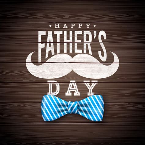 When is father's day in 2021? Happy father's day greeting card design with sriped bow ...