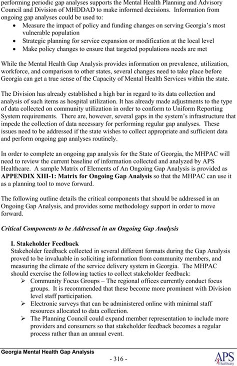 exle mental health gap analysis for