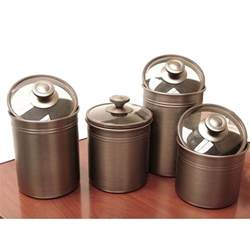 brown canister sets kitchen kamenstein brushed bronze 4 kitchen canister set 15394026 overstock shopping top