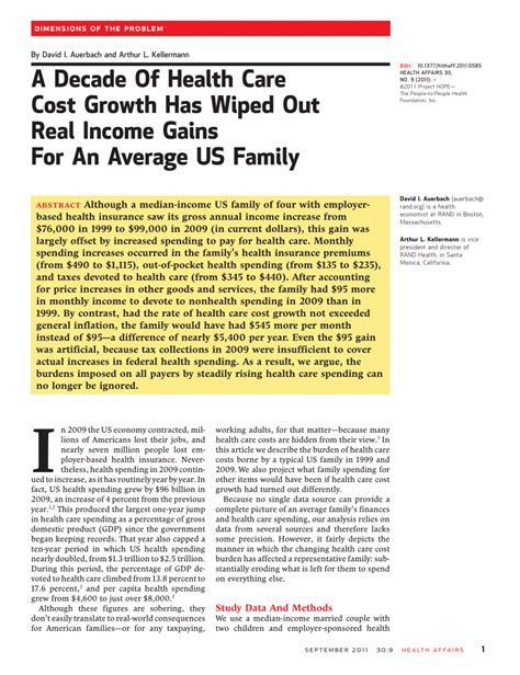 How much does health insurance cost in texas? (PDF) A Decade Of Health Care Cost Growth Has Wiped Out Real Income Gains For An Average US Family