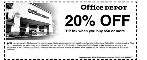 Office Depot Coupons For Printer by Office Depot 20 Hp Ink Coupon Print Coupon King