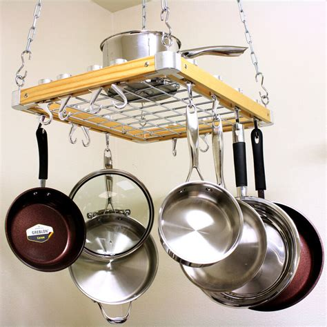 Kitchen Ceiling Pot Hangers by Track Slide Light Wood Hanging Ceiling Pot Pan