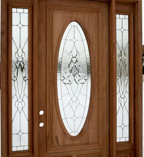 wooden entry door  oval glass  side light