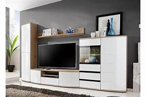 Meuble Salon Blanc : meuble tv mural blanc laqu et bois 3m pour salon ~ Dode.kayakingforconservation.com Idées de Décoration