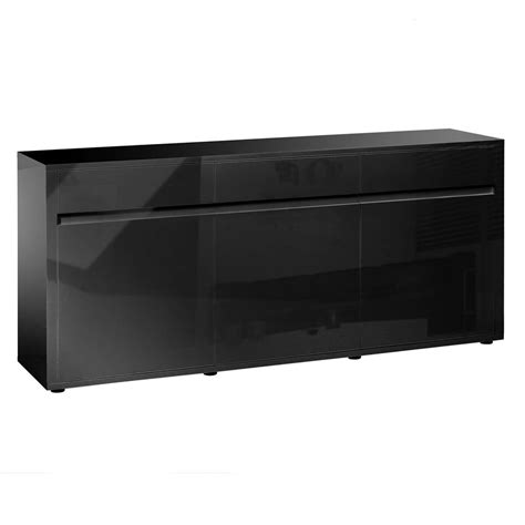 High Gloss Sideboard Black urbana black high gloss sideboard 3 door 3 drawer fads