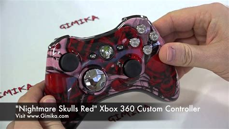 Nightmare Skull Red Xbox 360 Custom Controller By Gimika
