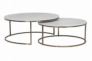 Elle round marble nest coffee tables by globewest make for Circle nesting coffee table