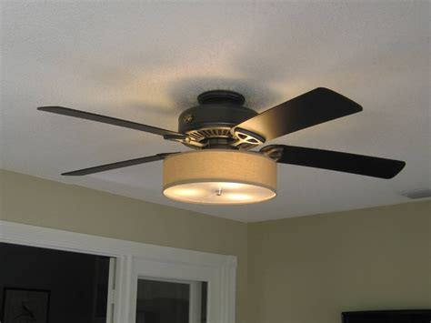 Fans With Lights by Low Profile Linen Drum Shade Light Kit For Ceiling Fan