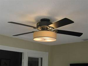 Low Profile Linen Drum Shade Light Kit For Ceiling Fan