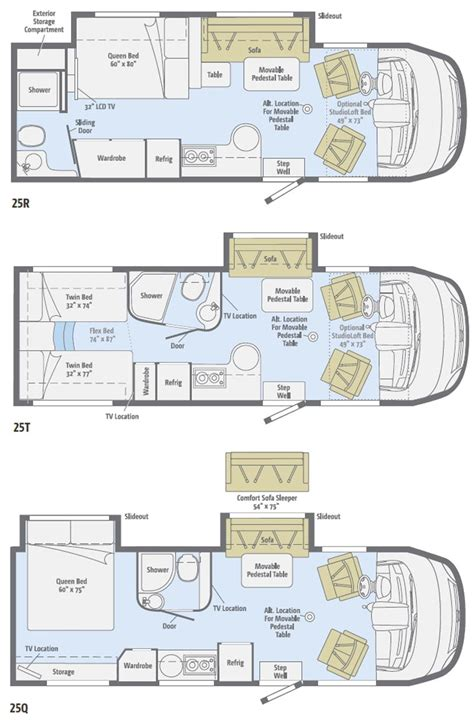 winnebago class c motorhomes floor plans 2011 winnebago view class c motorhome floorplans