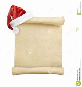 blank christmas scroll witch santa hat stock image image With santa scroll letter