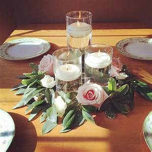 floating candles with greenery ring and roses # ...