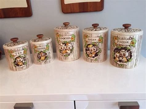 Vintage Owl Canister Set Made In Hawaii By Treasure Craft