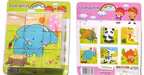 Puzzle Kayu Persegi Binatang Hutan puzzle 6 in 1 animal b sebutik edutoys