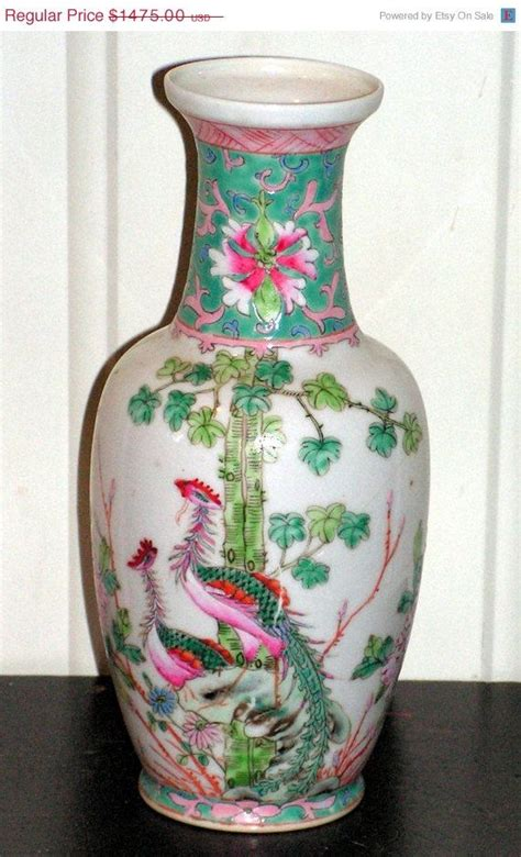 antique chinese porcelain vase  double peacocks