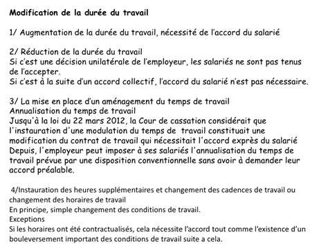 Modification Unilatérale Du Contrat by Modele De Lettre Modification D Horaire