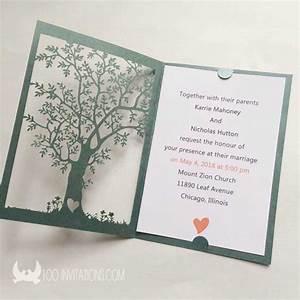Jaw dropping laser cut tree wedding invitations for Tree slice wedding invitations