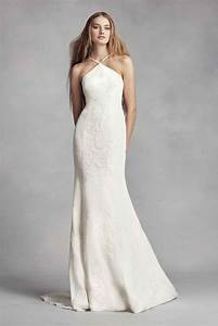 elegant halter neck long sheath lace appliqued white by With sheath wedding dresses vera wang