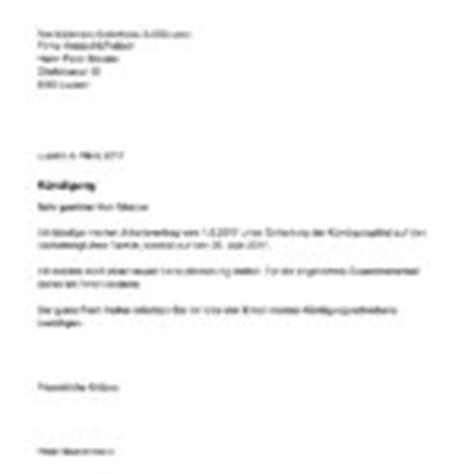 kuendigung vorlage arbeitsvertrag schweiz muster vorlagech