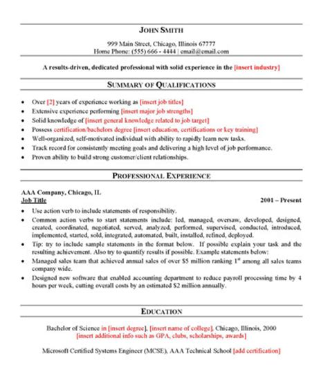 General Resume by Free General Resume Template Sle Resume Templates Resume Outline And Sle Resume