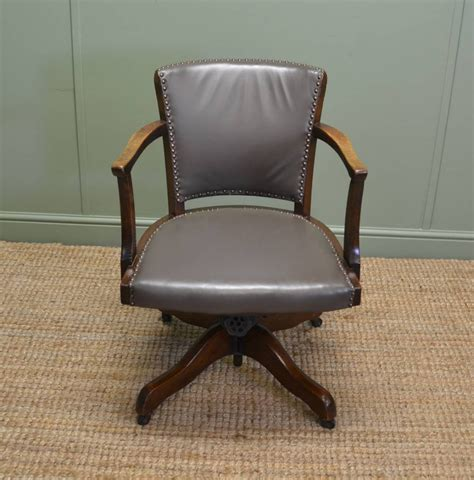 deco antique solid oak swivel desk chair 286618