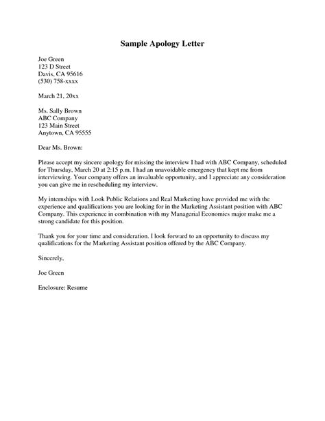 apology letter to format for apology letter best template collection
