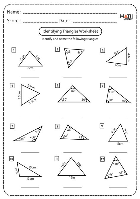 classifying triangles worksheets math monks