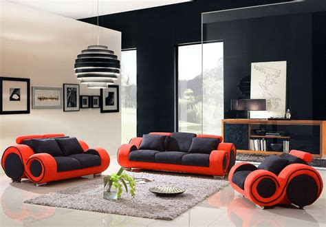 Red And Black Furniture For Living Room