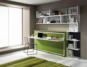 Lit Dans Armoire : lit escamotable avec bureau ~ Premium-room.com Idées de Décoration