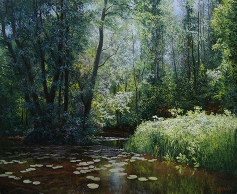 Backwater. Oil painting by Evgeny Burmakin   Artfinder