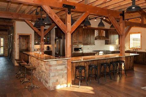 rustic kitchen post beam style barn home sand creek