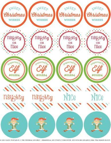 christmas elf assorted printable  stickers label