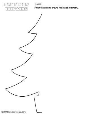 christmas tree symmetry drawing worksheet printable