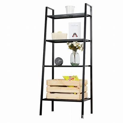 Ladder Shelf Metal Bookshelf Storage Tier Living