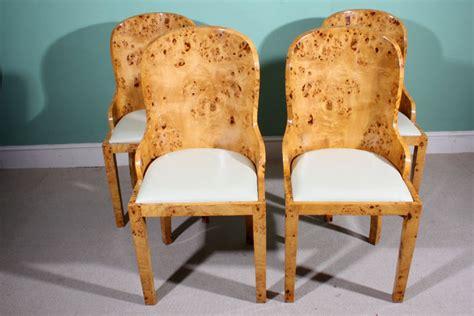 stunning set  art deco birdseye maple dining chairs ref