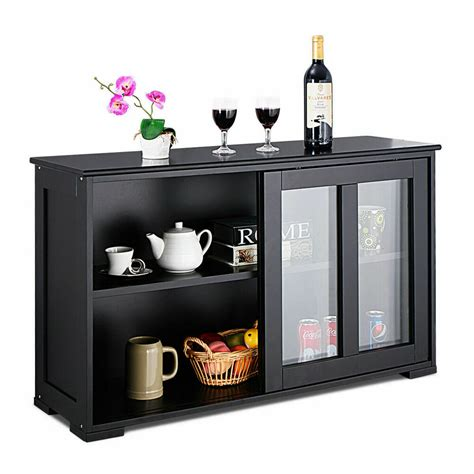 storage cabinet sideboard buffet cupboard glass sliding
