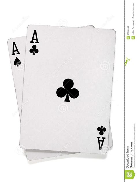 pair  aces  poker cards stock  image