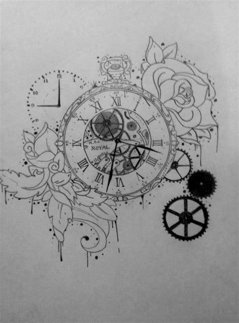 Tattoo Illustration, Pocket Watch, Time, Gears, Clock