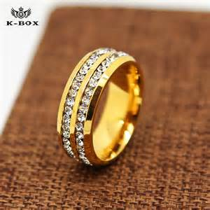 24k gold wedding band aliexpress buy 316l stainless steel 24k gold plated 8mm band ring aaa cz inlay