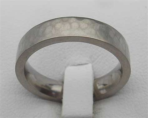 flat hammered steel wedding ring love2have in the uk