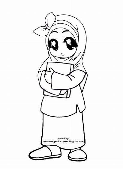 Anak Gambar Mewarnai Sketsa Muslimah Kartun Muslim
