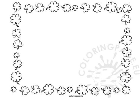 saint patricks day frame  clover coloring page