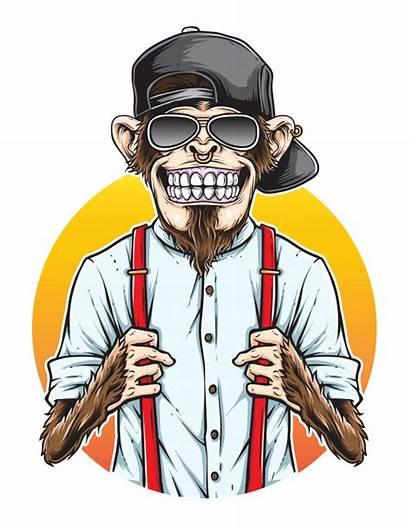 Monkey Hipster Macaco Premium Vetor Freepik Mono